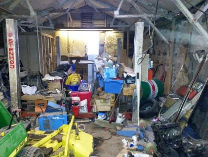 A messy garage.